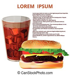 glass of cola, hamburger
