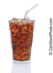 Glass of Cola with Drinking Straw - Glass filled with ice...