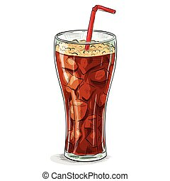 Coca cola color picture sticker - Glass of cola with ice. ...