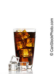 Glass of cola with ice cubes on white background