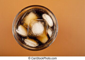 glass of cold drink with ice