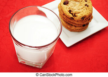 Glass of Cold Milk with Cookies in the Background