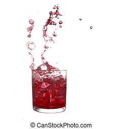 Glass of cold red fruity drink with water splash and ice...