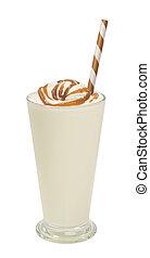 vanilla milkshake with syrup isolated