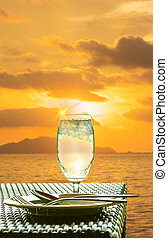 Glass of cold water on dining table
