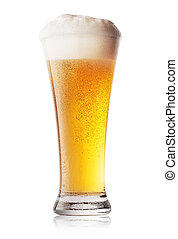 Glass of cool light beer