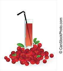 Glass of cranberry juice on a white background