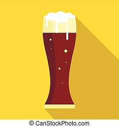Glass of dark beer icon, flat style