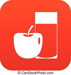 Glass of drink and apple icon digital red