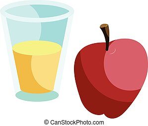Glass of drink and red apple icon, cartoon style