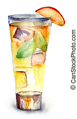 Glass of drink with Ice cubes