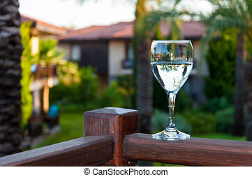 Glass of drinking water outdoors