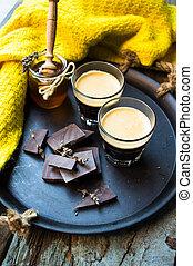 Glass of espresso coffee
