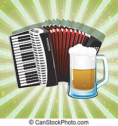 Glass of foamy beer and accordion with red bellows on ...
