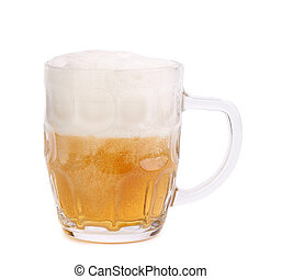 Glass of foamy beer on white background. 30%.