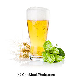 Glass of fresh beer with Green hops and ears of barley...