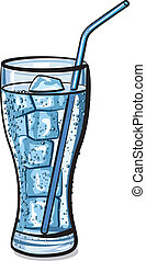 glass of fresh cool carbonated water with ice