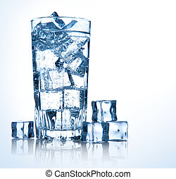 glass of fresh cool water with ice - full glass of fresh ...