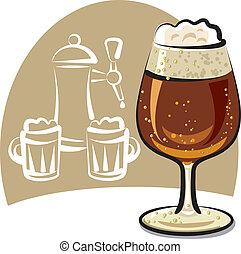 dark beer - glass of fresh dark beer