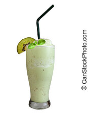 Glass of fresh healthy kiwi smoothie