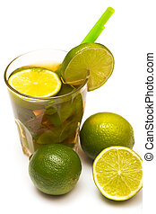 Glass of fresh ice tea with lime