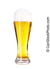 glass of fresh lager beer cut out from white