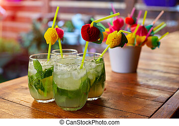 Glass of fresh mojito on table
