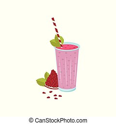 Glass of fresh pomegranate juice with a straw vector Illustration on a white background