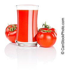 Glass of fresh tomato juice and three tomatoes Isolated on white background