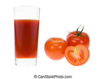glass of fresh tomato juice isolated on a white background