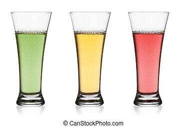 Glass of fruit juice isolated on white background