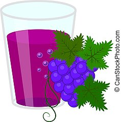 Glass of grapes juice and bunch of grapes. Simple flat vector illustration isolated on white background.