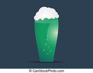 Glass of green beer for St. Patrick's Day. Foamy beer. Vector illustration