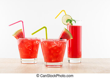Glass of healthy watermelon juice in summertime