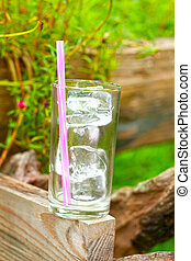 Glass of ice in the garden