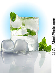 glass of ice water with fresh mint, on white