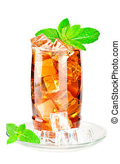 Glass of iced tea with ice cubes and mint