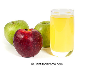 Glass of juice and apples