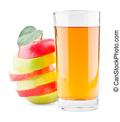 Glass of juice and mixed red-green apple
