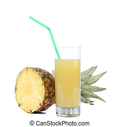 Glass of juice and pineapple. Isolated on a white background.