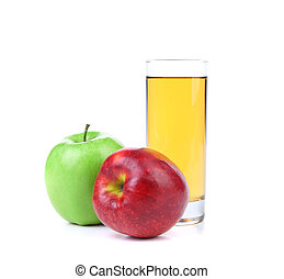 Glass of juice, green and red apple