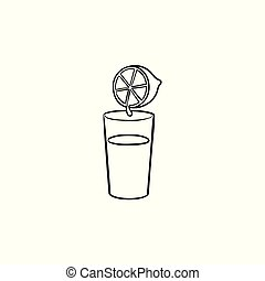 Glass of juice hand drawn outline doodle icon.