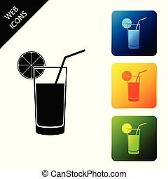 Glass of juice icon isolated on white background. Orange slice and tube for drinking. Healthy organic food. Set icons colorful square buttons. Vector Illustration
