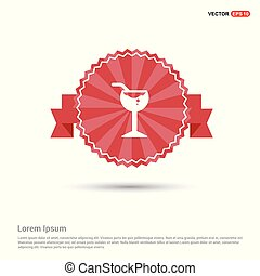Glass of Juice Icon - Red Ribbon banner