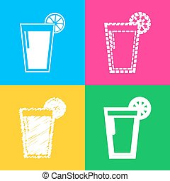 Glass of juice icons. Four styles of icon on four color squares.
