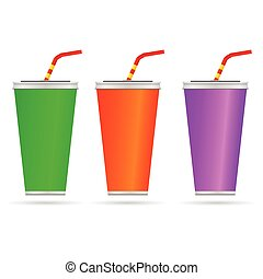 glass of juice with a straw color vector