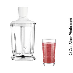 glass of juice with Blender isolated on white