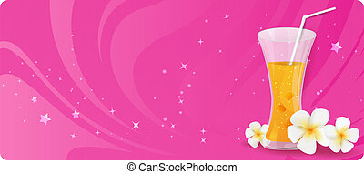 Glass of juice with flowers
