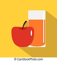 Glass of juice with red apple icon, flat style