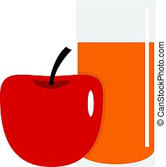 Glass of juice with red apple icon isolated